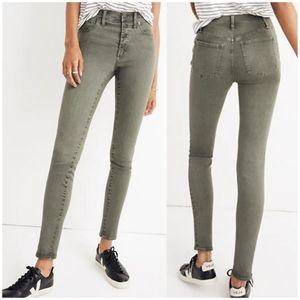 "NWT Madewell 9"" High Rise Skinny Jeans Green"